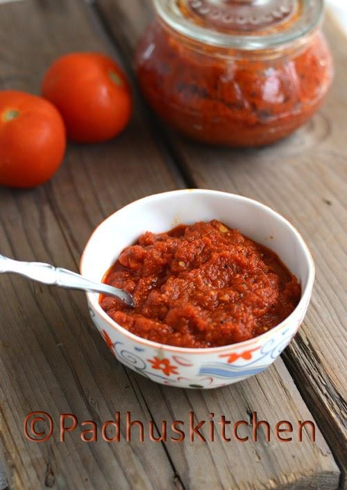 Tomato Thokku with Garlic-thakkali thokku
