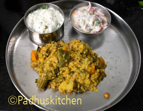 South Indian Lunch-Kootanchoru, curd rice and pachadi