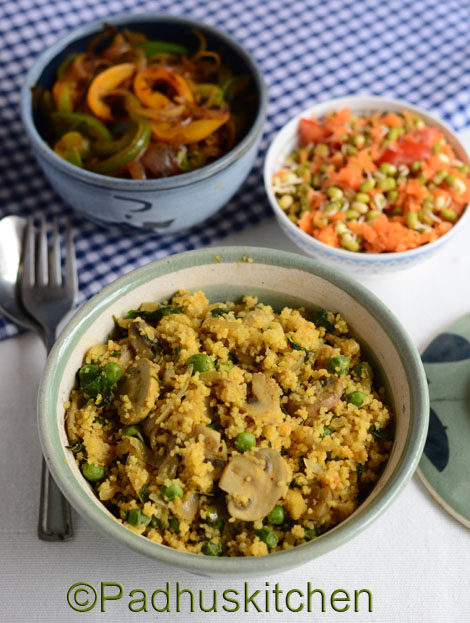 couscous with mushroom-peas